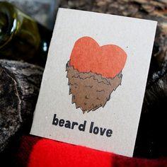Beard Love letterpressed card by powerandlight on Etsy, $5.00