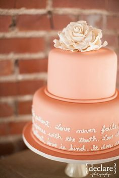 #Blush / coral wedding #cake ... #Wedding Guide ... The how, when, where & why of wedding planning for brides, grooms, parents & planners ... https://itunes.apple.com/us/app/the-gold-wedding-planner/id498112599?ls=1=8 … plus lots of budget wedding ideas ♥ The Gold Wedding Planner iPhone App ♥ http://pinterest.com/groomsandbrides/boards/