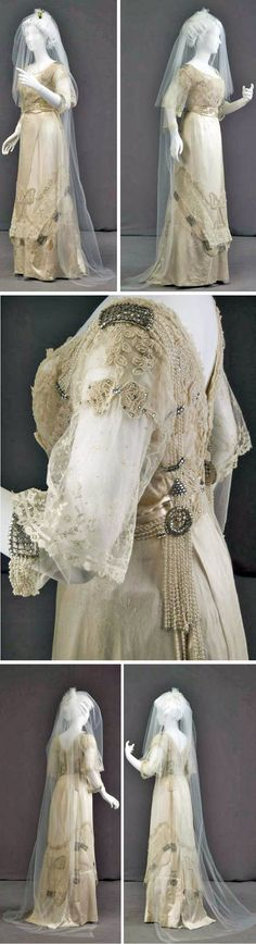 Wedding dress, Marshall Field & Co., Chicago, 1911. Silk satin, lace, pearls, rhinestones, wax blossoms. Off-white silk satin. Bodice has lace overlayer with low, rounded neckline. C-shaped back with pearl beading & rhinestone medallions at each side. Rhinestone buckles at shoulders. Bow-shaped pearl decorations at front and upper arms, w/strands of pearls at back & skirt. 3/4 lace sleeves. Skirt has net overlayer with large embroidered bow of pearls. Chicago History Museum