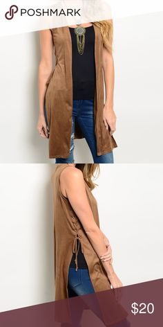 NWT faux suede cardigan Brand new camel color faux suede cardigan. 90% polyester 10% spandex Jackets & Coats Vests