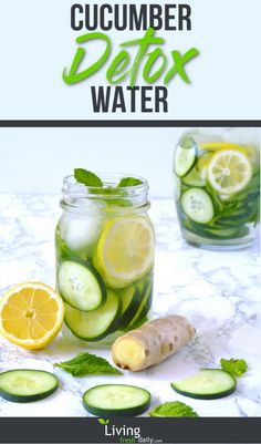 Cucumber lemon ginger water pin A refreshing and thirst quenching detox water. Soothing cucumber is combined with stimulating ginger, invigorating lemon, and cooling mint for a crisp and revitalizing infused water. Lemon Ginger Detox Water, Cucumber Detox Water, Lemon Water, Healthy Detox, Healthy Drinks, Healthy Water, Easy Detox, Detox Diet Drinks, Detox Juices