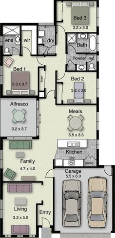 Grenada 207 Floor Plan  North facing side - good option
