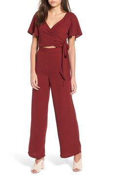 0bafa7be89 Free shipping and returns on Leith Surplice Jumpsuit at Nordstrom.com. A  slim stripe