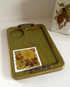 Georges Briard green floral cheese tray by TheHaystackNeedle1