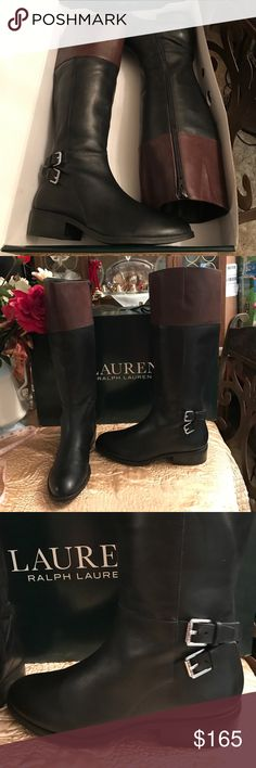 """Lauren Ralph Lauren Blk/Dk Masika Boots NIB!🎁💐👢 Lauren Ralph Lauren Blk/Dk Masika Boots NIB!🎁💐👢👢 brand-new in box  from BELK store. Calf is 14"""" and 16.5 high, with a 1"""" heel.  Comes from a non-smoking home pet free. I ship Monday Wednesday and Friday. Do you have any questions please ask! Lauren Ralph Lauren Shoes Heeled Boots"""