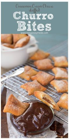 Cinnamon cream cheese stuffed inside puff pastry, fried, then rolled in cinnamon and sugar and dunked in chocolate ganache. These Stuffed Churro Bites will rock your socks! - Eazy Peazy Mealz