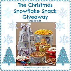 Enter the Christmas Snowflake Snack Giveaway at www.intelligentdomestications.com