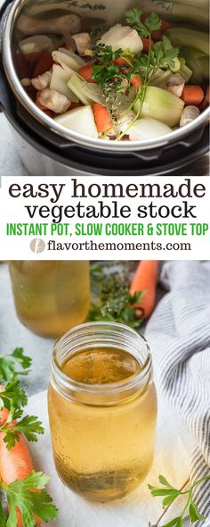 Easy Homemade Vegetable Stock Easy Homemade Vegetable Stock is an easy way to make homemade vegetable stock using Instant Pot, slow cooker or stove top methods! Recipes With Vegetable Broth, Homemade Vegetable Broth, Vegetable Lasagna Recipes, Recipe For Vegetable Stock, Vegetable Broth Soup, Soup Broth, Vegetable Curry, Vegetable Garden, Whole Food Recipes