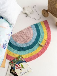 Never go without a rainbow sighting with our Rainbow Magic pink floor mat in 2200 tufted cotton.A perfect addition to your little one's bedroom or playroom, this m Kids Bedroom, Bedroom Ideas, Rainbow Magic, Clean Washing Machine, Blue Floor, Floor Mats, Playroom, Kids Rugs, Flooring