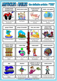 The Definite Article ESL Printable Classroom Poster for Kids