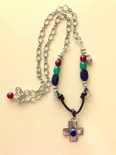 Buy Lapis and Silver Cross Necklace with Gemstones, Leather Cord and Silver Chain by magicaluniverse. Explore more products on http://magicaluniverse.etsy.com