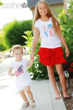 Don't spend a fortune on your patriotic apparel this year. Make these adorable DIY 4th of July t-shirts instead! Find the tutorial and 2 styles of printable graphics at howdoesshe.com