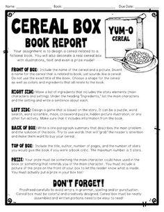 Cereal Box Book Report Template  Ela    Book Report