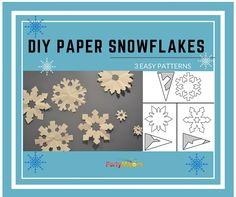 Three easy patterns to make paper snowflakes. These are pretty holiday decorations for your walls or windows.