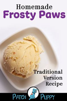 "3 simple DIY dog ice cream recipes to make homemade ""frosty paws"" style treats. Try all three recipes for Banana, Sweet Potato, and Blueberry dog ice cream. Dog Biscuit Recipes, Dog Treat Recipes, Dog Food Recipes, Dog Cake Recipes, Homemade Dog Cookies, Homemade Dog Food, Puppy Treats, Diy Dog Treats, Frosty Paws Recipe"