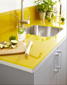 Yellow kitchen counter & grey cabinets, I think I have to do the yellow in chalk paint over my mismatched laminate countertops - My-House-My-Home Kitchen Paint, New Kitchen, Kitchen Dining, Kitchen Decor, Glass Kitchen, Awesome Kitchen, Kitchen Ideas, Kitchen Tile, Küchen Design