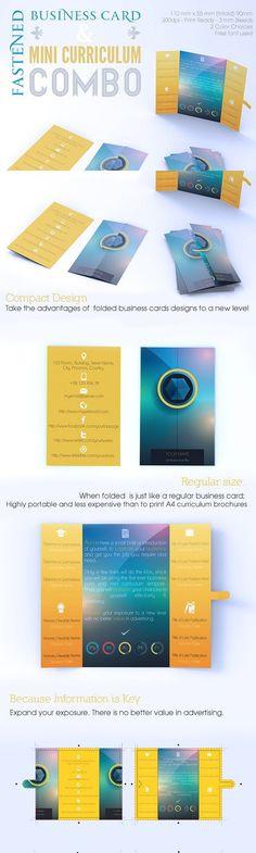 Fastened Buss Card + Mini CV Combo. Creative Business Card Templates