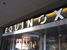 Equinox dimensional letter branding signage with stroke lighting. Built and installed by DCL. Wayfinding Signage, Environmental Graphics, Equinox, Experiential, Branding, Lettering, Bar, Logo, Architecture
