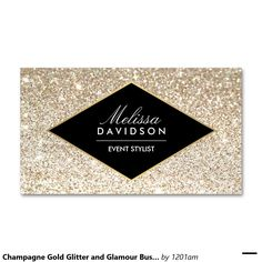 Champagne Gold Glitter and Glamour Business Card for Event Planners, Makeup Artists, Beauty Salons and more! Customize for yourself or your business. Fully editable template ready to personalize and order.