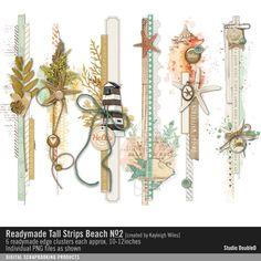 Readymade Tall Strips: Beach No. 02 element clusters in a vintage beach theme for a vertical strip #designerdigitals