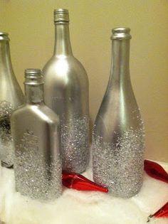 Wine Bottles Decoration Ideas For Christmas Epsom salt and glitter bottles: this is a good idea for empty wine and liquor bottles!Epsom salt and glitter bottles: this is a good idea for empty wine and liquor bottles! Empty Liquor Bottles, Bottles And Jars, Mason Jars, Glitter Bottles, Reuse Bottles, Recycled Bottles, Recycled Glass, Wine Bottle Art, Wine Bottle Crafts
