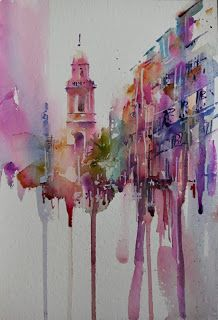 The Magic of Watercolour Painting' virtual art gallery by Jean Haines, Artist - browse and buy watercolor paintings online including landscapes, portraits, animals and action galleries Art Aquarelle, Art Watercolor, Watercolor Architecture, Architecture Art, Art And Illustration, Painting Inspiration, Art Inspo, Kunst Inspo, A Level Art