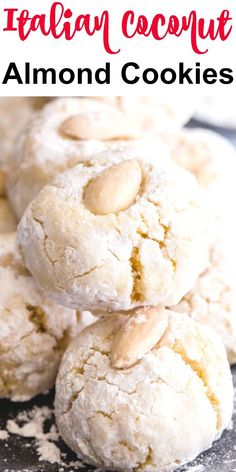 Italian Coconut Almond Cookies Italian Coconut Almond Cookies These Almond Cookies are made with almond flour & coconut which makes them not only delicious but also Gluten Free. Almond Paste Cookies, Gluten Free Almond Cookies, Cookies Sans Gluten, Dessert Sans Gluten, Almond Flour Cookies, Almond Flour Recipes, Gluten Free Desserts, Dessert Recipes, Almond Flour Desserts