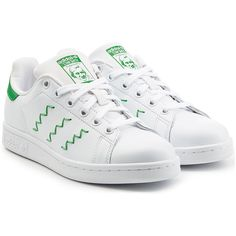 Adidas Originals Stan Smith Leather Sneakers (€71) ❤ liked on Polyvore featuring shoes, sneakers, white, round cap, white shoes, round toe sneakers, white leather sneakers and adidas originals shoes