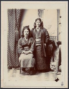 Two AINU Women Island of Yezo Hokkaido Japan Vintage Collodion Paper Print 1903