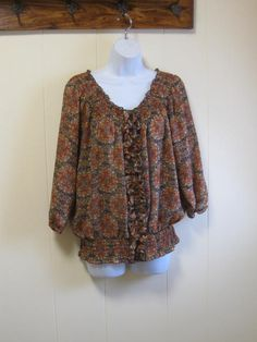 Vintage Rich Brown and Orange Ruffled and Shirred by jonscreations