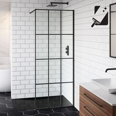 Make a splash with a super modern black shower screen! From a sliding black shower door to a full black shower enclosure, we have statement styles you'll love. Wet Room Screens, Bath Shower Screens, Master Bathroom Shower, Shower Panels, Shower Doors, Modern Bathroom, Wet Room Bathroom, Bathroom Canvas, Glass Shower Enclosures