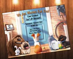 Secret Life of Pets Birthday Invitation Birthday Pets 6th Birthday Parties, 8th Birthday, Second Birthday Ideas, Secret Life Of Pets, Puppy Party, Animal Birthday, Animal Party, Birthday Invitations, Invites