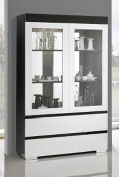 Argentier / Vaisselier design 2 portes vitrées LIDO