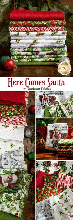 Here Comes Santa is a gorgeous Christmas collection by Jason Kirk for Northcott Fabrics. These prints are the perfect addition to a Christmas quilt.