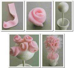 Como hacer paso a paso souvenirs con rosas de tela polar.