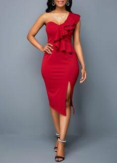 One Shoulder Dresses One Shoulder Side Slit Ruffle Trim Sheath Dress Women's Fashion Dresses, Sexy Dresses, Dress Outfits, Short Dresses, Formal Dresses, Ruffle Trim, Ruffle Dress, Sheath Dress, Bodycon Dress