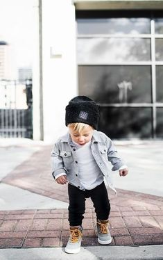 I want this outfit for Benji so bad! I think he should have little Timberlands instead though. Too cute! #mommasboy #jeanjacket #ssCollective #littletims #timberlandoutfits