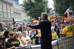 Allegheny County, the City of Pittsburgh, PNC Bank & the @Pittsburgh Pirates  sponsored a rally in Market Square today. Thanks to everyone who came out to show their support for the team. Let's Go Bucs!