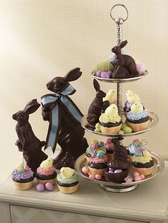 Easter Sweets for decorating    resin chocolate rabbits and foam cupcakes