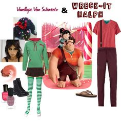"""Couples Costume: Wreck-It Ralph and Vanellope Von Schweetz"" by ashleezy3189 on Polyvore"