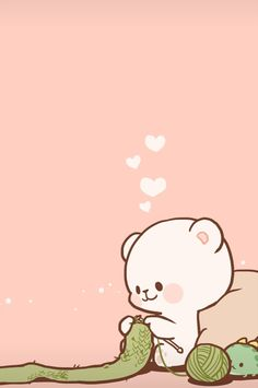 Bear Wallpaper, Kawaii Wallpaper, Cute Wallpaper Backgrounds, Wallpaper Iphone Cute, Cute Bear Drawings, Cute Cartoon Drawings, Kawaii Drawings, Cute Love Pictures, Cute Love Gif