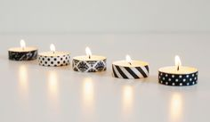 There's no need to place tea lights in containers if you add washi tape!