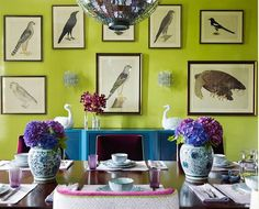 Color Infusion from Katie Ridder!! This home in the South features an eclectic mix of colors, patterns and textures...unique, interesting and cheerful come to mind when I look at these images.  The disco ball like chandelier in the dining room along with the apple green lacquered walls are the biggest design surprises. From COCOCOZY Blog