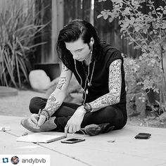 He's so cute even when he's writing #andybiersack""