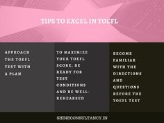 Tips for students who are planning or attempting to give TOEFL exam.  #visitus at #website: http://shineconsultancy.in/  You can also #callus on 022-28928911/22/33  #shineconsultancy #studyabroad #overseas #education #infoghaphics #toefl  #coachingcenter #borivali #ielts #pte #toefl