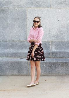 Loud and proud — Cotton Cashmere Cat Hair Ballet Flats Outfit, Gold Flats Outfit, Gingham Shirt Outfit, Camo Skirt, Animal Print Skirt, Leopard Skirt, Cat Hair, Pink Gingham, Stripe Skirt