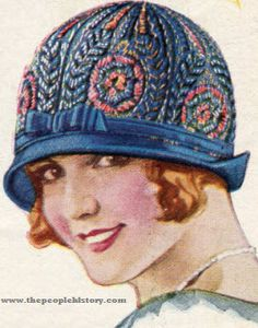 Embroidered Hat (1024) Price: $3.98  Description One of this season's niftiest little shapes. Tiny poke brim with smart turn-up across back of lustrous visca straw cloth. Six-piece visca crown entirely covered with very rich looking Rayon and metallic thread embroidery.