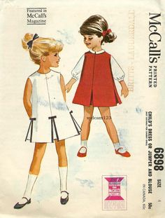 #Vintage 1963 Collarless #Jumper Inverted Pleats #pattern ..Button Front Blouse...McCalls 6898 Size 4