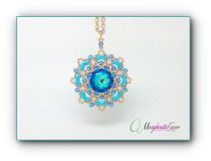 Beads tutorial Azzorre pendant with swarovski jelly by 75marghe75