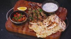 Greek style chicken skewers yoghurt flatbread tzatziki